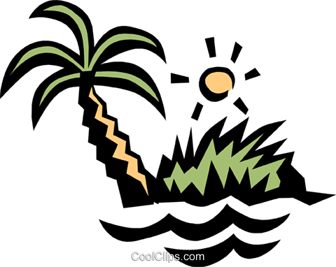 Deserted island Royalty Free Vector Clip Art illustration natu0266