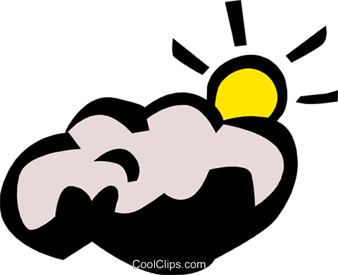 Sun & clouds Royalty Free Vector Clip Art illustration natu0267