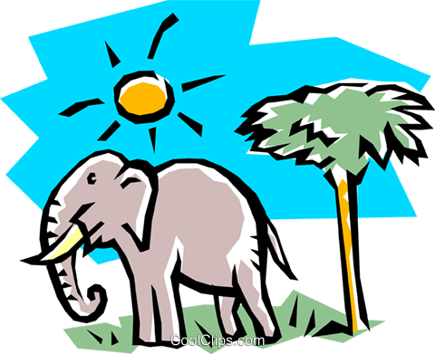 Elephant Royalty Free Vector Clip Art illustration anim0748