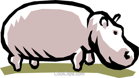 Hippopotamus Royalty Free Vector Clip Art illustration anim0755