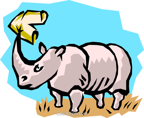 Rhinoceros Royalty Free Vector Clip Art illustration anim0760
