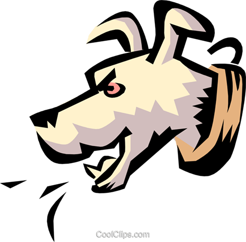 Dog barking Royalty Free Vector Clip Art illustration anim0779