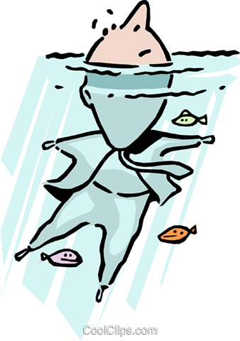 Keep your head above water Royalty Free Vector Clip Art illustration cart0884