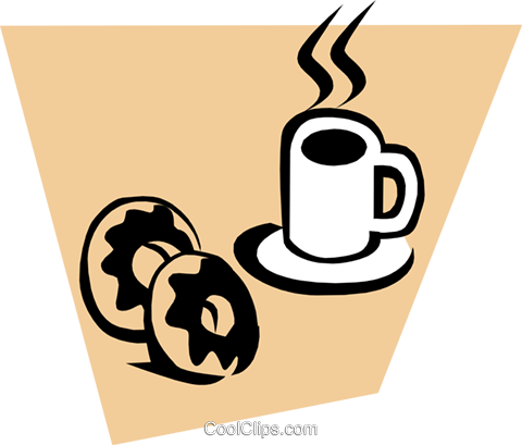 Coffee & doughnuts Royalty Free Vector Clip Art illustration food0451