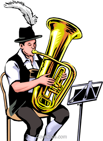 German Tuba Player Royalty Free Vector Clip Art illustration peop0002