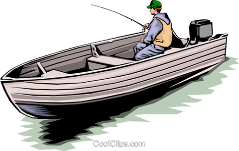 Fisherman in boat Royalty Free Vector Clip Art illustration peop0003