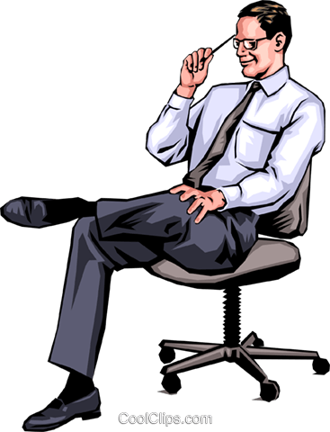Man in chair Royalty Free Vector Clip Art illustration peop0005