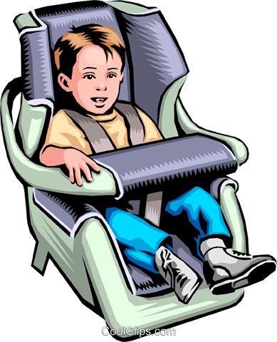 Child in a car seat Royalty Free Vector Clip Art illustration peop0008