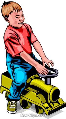 Child with riding toy Royalty Free Vector Clip Art illustration peop0009