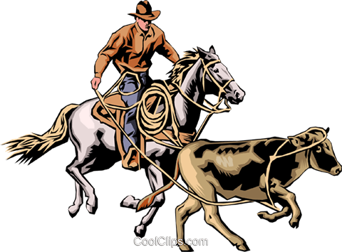 Cowboy & steer Royalty Free Vector Clip Art illustration peop0011
