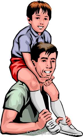 Father & son Royalty Free Vector Clip Art illustration peop0015
