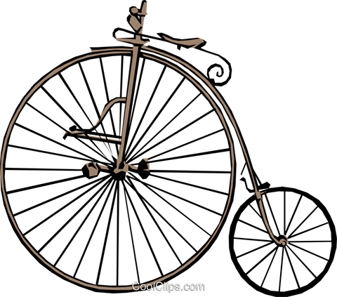 Old fashioned bicycle Royalty Free Vector Clip Art illustration tran0277