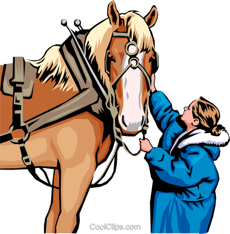 Horse and Woman Royalty Free Vector Clip Art illustration anim0522