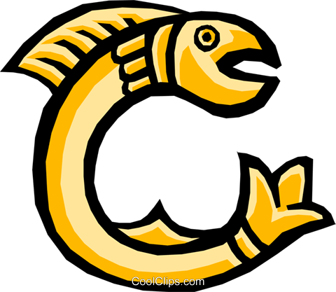 Fish letter Royalty Free Vector Clip Art illustration anim0796