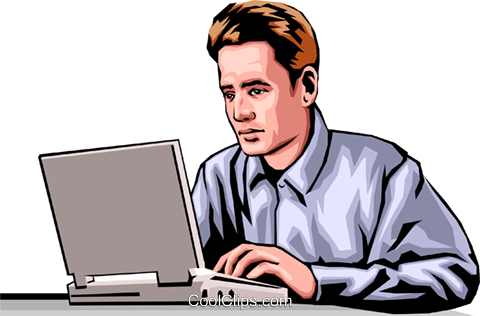 Man with laptop computer Royalty Free Vector Clip Art illustration peop0019