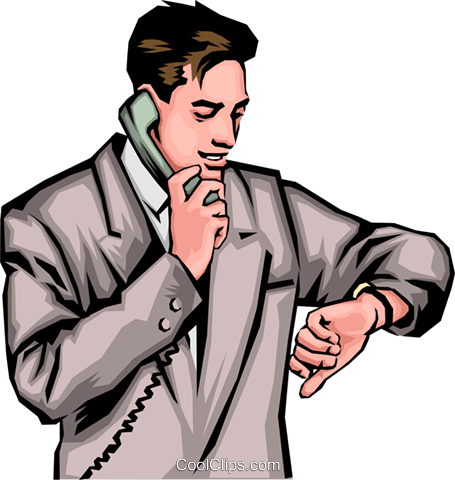 Man with phone & watch Royalty Free Vector Clip Art illustration peop0020