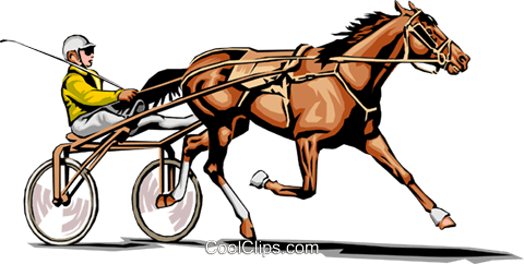 Trotter race horse Royalty Free Vector Clip Art illustration peop0024