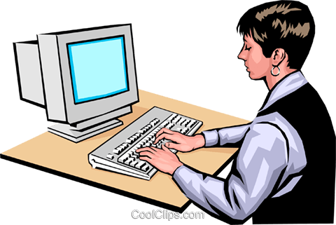 Woman at computer Royalty Free Vector Clip Art illustration peop0030