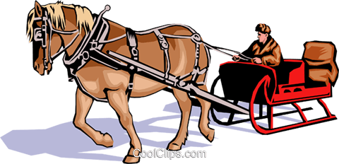 Horse drawn sleigh Royalty Free Vector Clip Art illustration tran0279