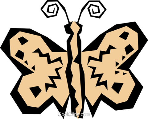 Woodcut butterfly Royalty Free Vector Clip Art illustration anim0811