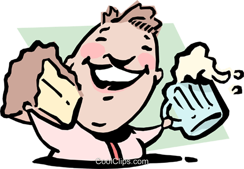 Man with cake and mug of beer Royalty Free Vector Clip Art illustration cart0932