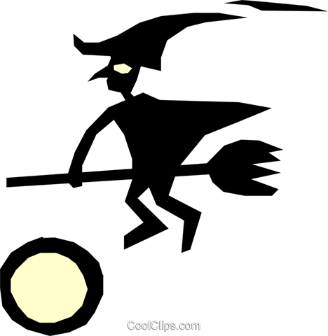 Witch on a broomstick Royalty Free Vector Clip Art illustration even0319