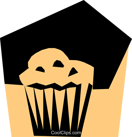 Woodcut muffin Royalty Free Vector Clip Art illustration food0459