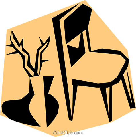 Woodcut chairs Royalty Free Vector Clip Art illustration hous0530