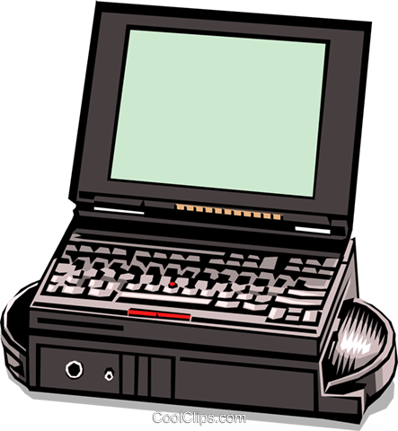 Portable laptop computer Royalty Free Vector Clip Art illustration busi0096