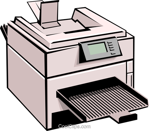 Computer printer Royalty Free Vector Clip Art illustration busi0099