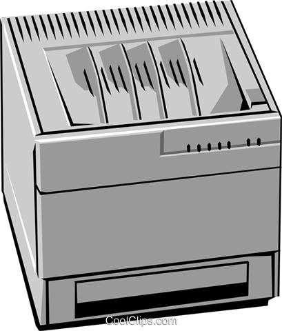 Computer printer Royalty Free Vector Clip Art illustration busi0104