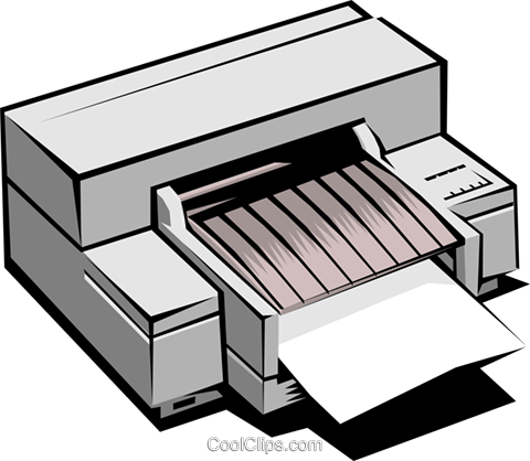 Computer printer Royalty Free Vector Clip Art illustration busi0106