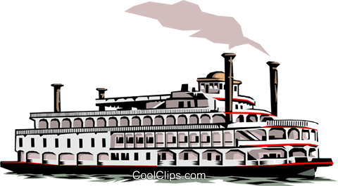 Mississippi Paddleboat Royalty Free Vector Clip Art Illustration