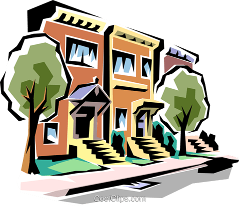 Townhouses Royalty Free Vector Clip Art illustration arch0006