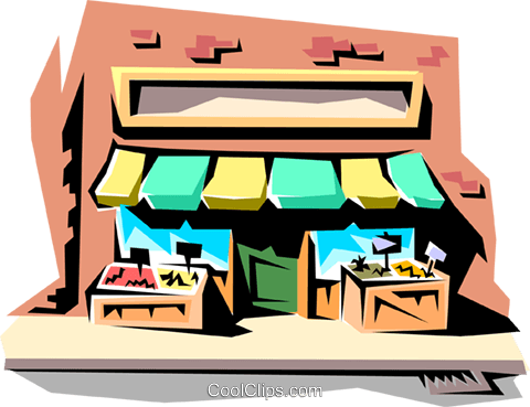 Corner store Royalty Free Vector Clip Art illustration arch0021