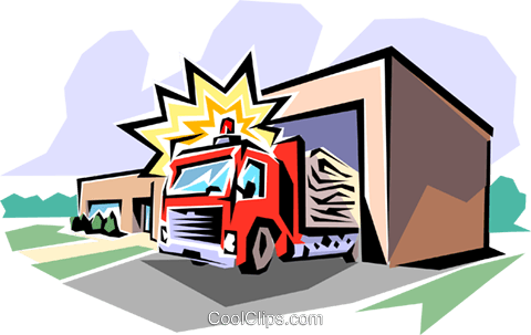 Fire station Royalty Free Vector Clip Art illustration arch0022