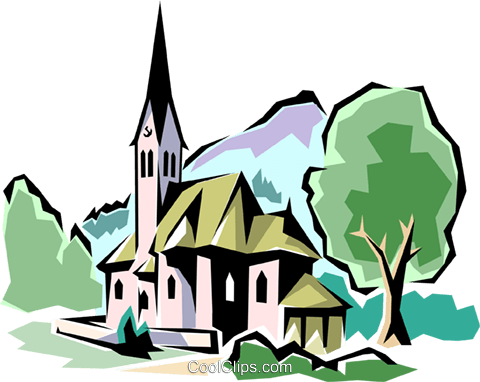Traditional Church Royalty Free Vector Clip Art illustration arch0023
