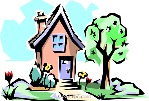 House in spring Royalty Free Vector Clip Art illustration arch0030