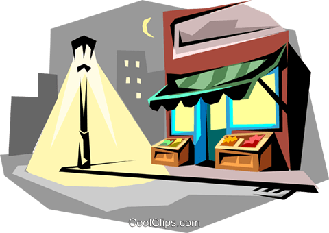 Corner store at night Royalty Free Vector Clip Art illustration arch0040
