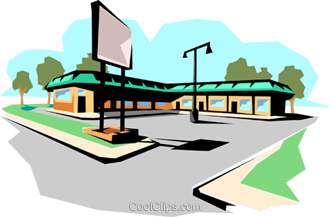 Strip mall Royalty Free Vector Clip Art illustration arch0042