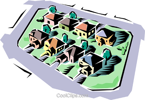 Neighborhood Royalty Free Vector Clip Art illustration arch0043