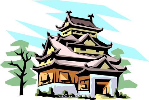 Japanese pagoda Royalty Free Vector Clip Art illustration arch0099