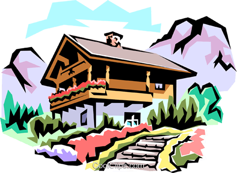 Swiss chalets Royalty Free Vector Clip Art illustration arch0100