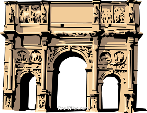 Roman Arch of Constantine Royalty Free Vector Clip Art illustration arch0140