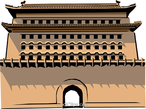 Chinese Gate Royalty Free Vector Clip Art illustration arch0149