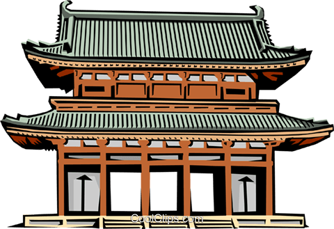 Japanese Gate Royalty Free Vector Clip Art illustration arch0152