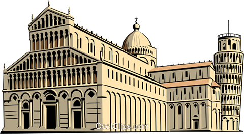 Cathedral and Leaning Tower of Pisa Royalty Free Vector Clip Art illustration arch0156