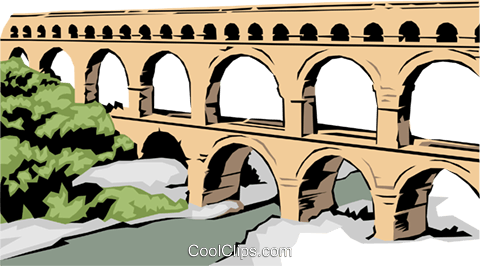 Roman Aqueduct Royalty Free Vector Clip Art illustration arch0157