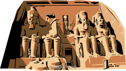 Temple of Abu Simbel Royalty Free Vector Clip Art illustration arch0159