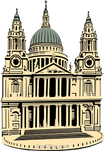 St. Paul's Cathedral Royalty Free Vector Clip Art illustration arch0162